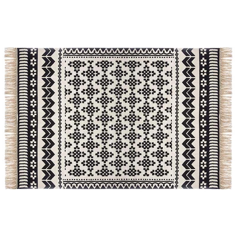 Χαλί Delhi pakoworld βαμβάκι μαύρο-λευκό 170x120εκ