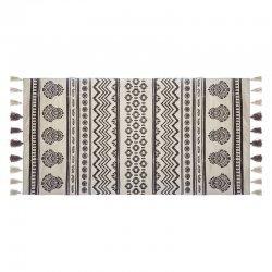 Χαλί Rute pakoworld βαμβάκι μαύρο-λευκό 140x70εκ