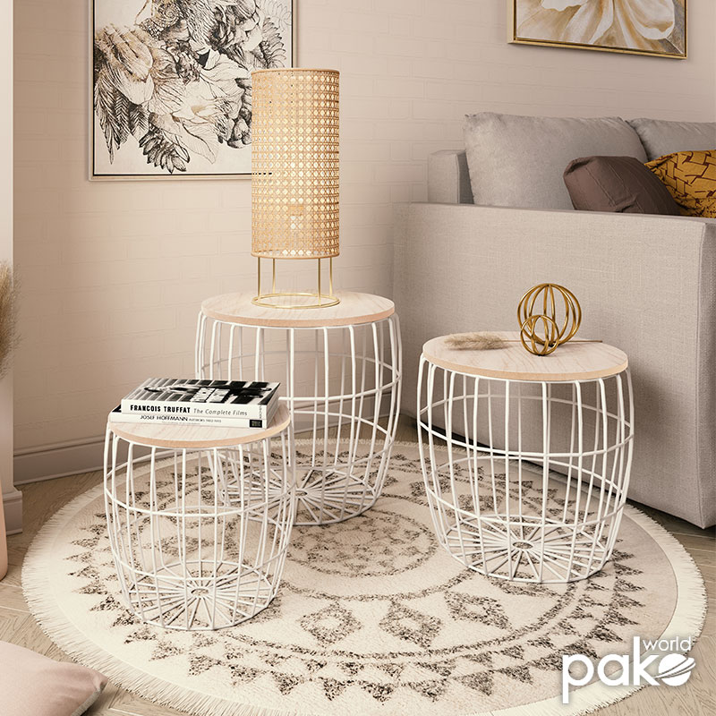 Βοηθητικά τραπέζια σαλονιού Atomic pakoworld σετ 3τεμ oak-λευκό Φ40,5x41εκ