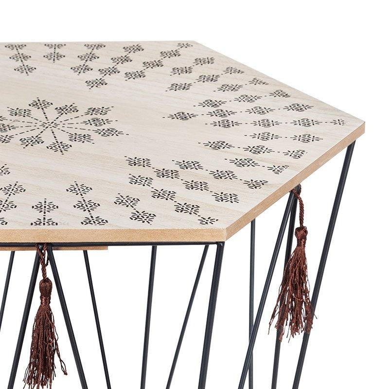 Τραπέζι σαλονιού Kumi pakoworld μωσαϊκό-μαύρο 39.5x38x44εκ