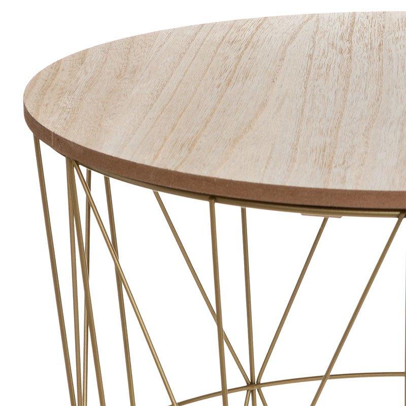 Τραπέζι σαλονιού Kumi pakoworld oak-χρυσό Φ41x40εκ