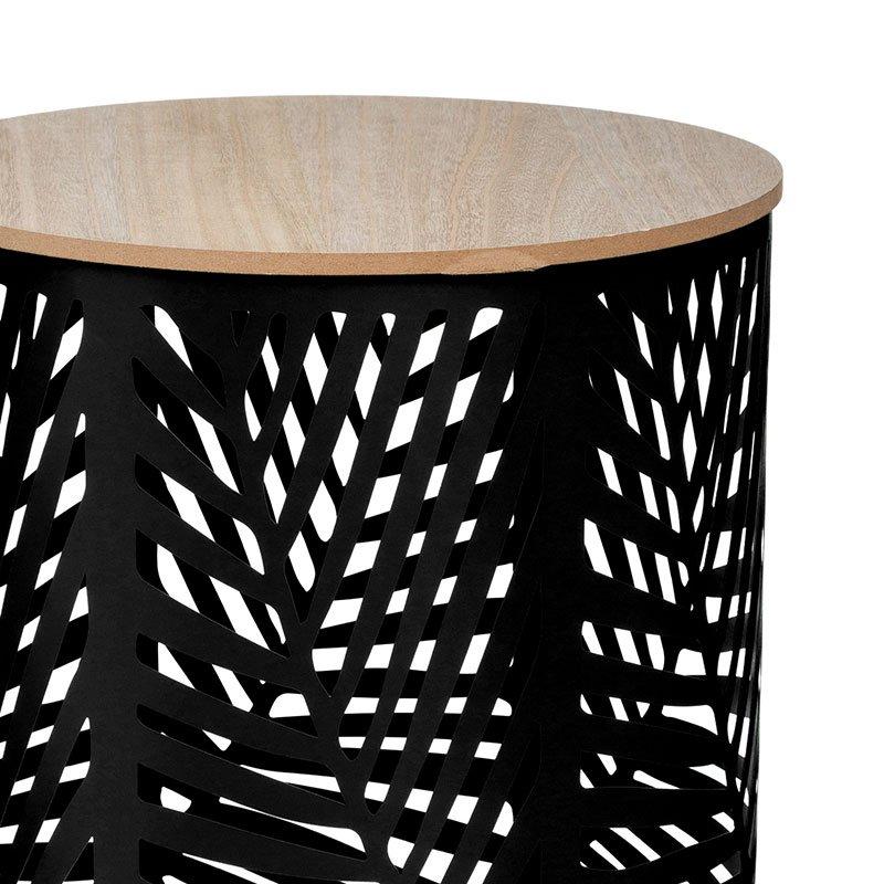 Βοηθητικά τραπέζια σαλονιού Leaf pakoworld σετ 2τεμ oak-μαύρο Φ39x45εκ