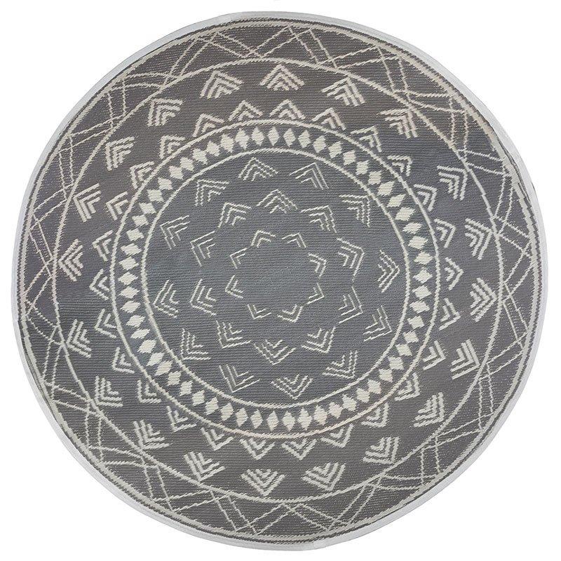 Χαλί Rug pakoworld pp γκρι-λευκό Φ150x0,5εκ