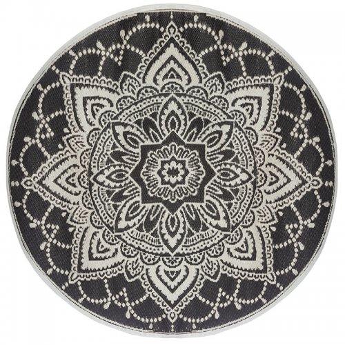 Χαλί Rug pakoworld pp μαύρο-λευκό Φ150x0,5εκ