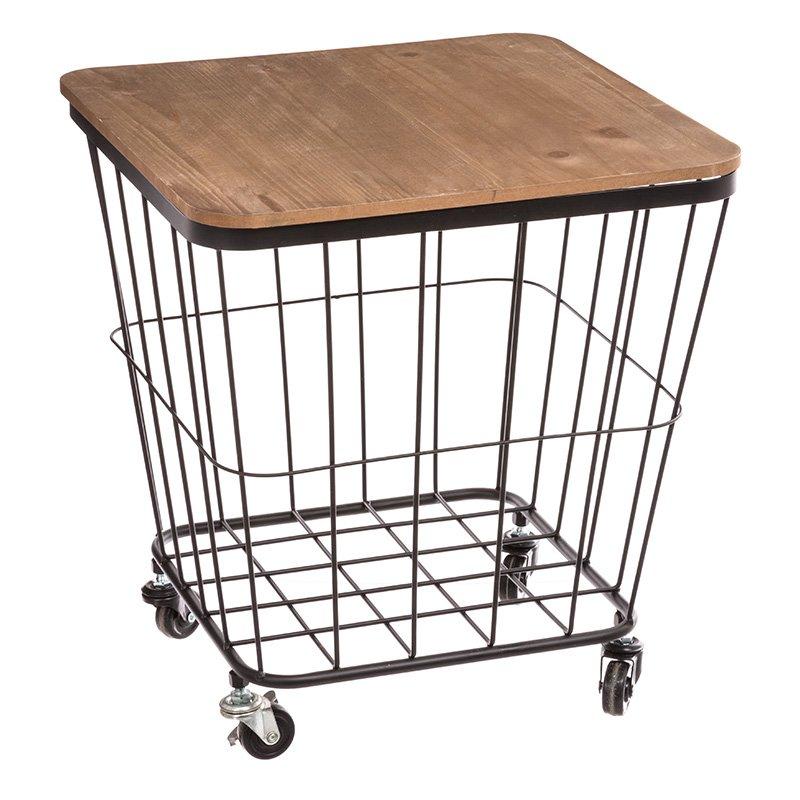 Βοηθητικό τραπέζι σαλονιού Lyle pakoworld μαύρο-oak 40,5x39x43.5εκ