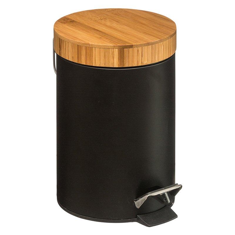 Κάδος απορριμμάτων 3L Dustbin pakoworld μέταλλο-pp μαύρο-oak