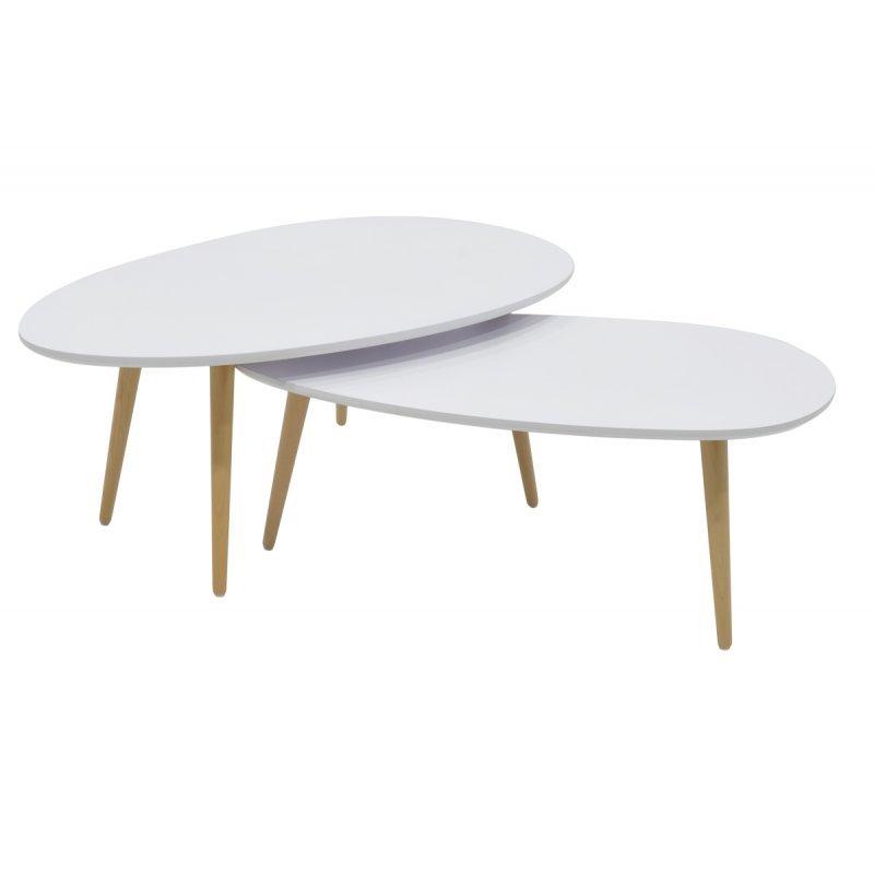 Τραπέζι σαλονιού HAMILTON pakoworld σετ 2τεμ χρώματος λευκό-φυσικό