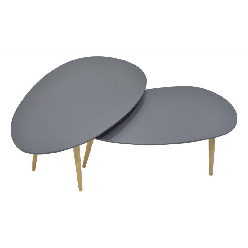 Τραπέζι σαλονιού HAMILTON pakoworld σετ 2τεμ χρώματος ανθρακί-φυσικό