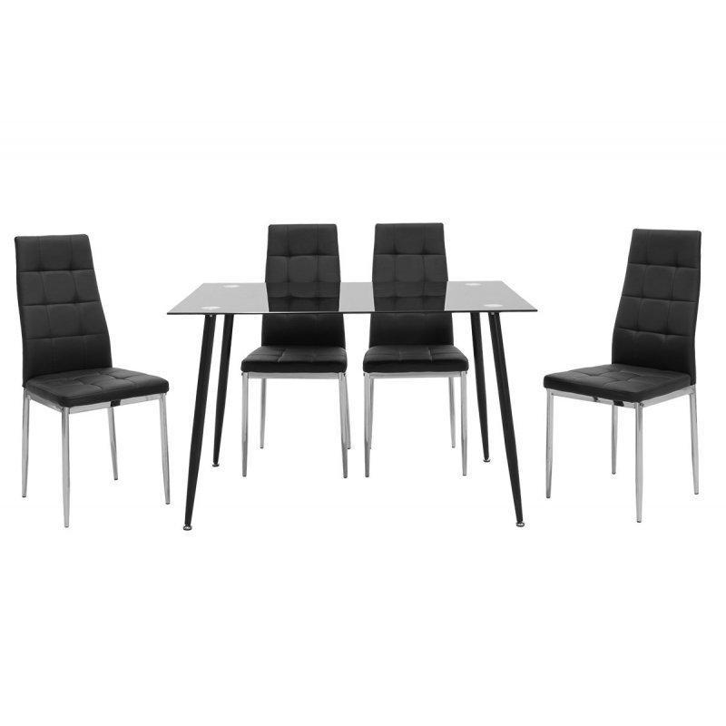 Τραπεζαρία Vincenzo pakoworld σετ 5τμχ μαύρο γυαλί-κάθισμα μαύρο pu 120x80x75εκ