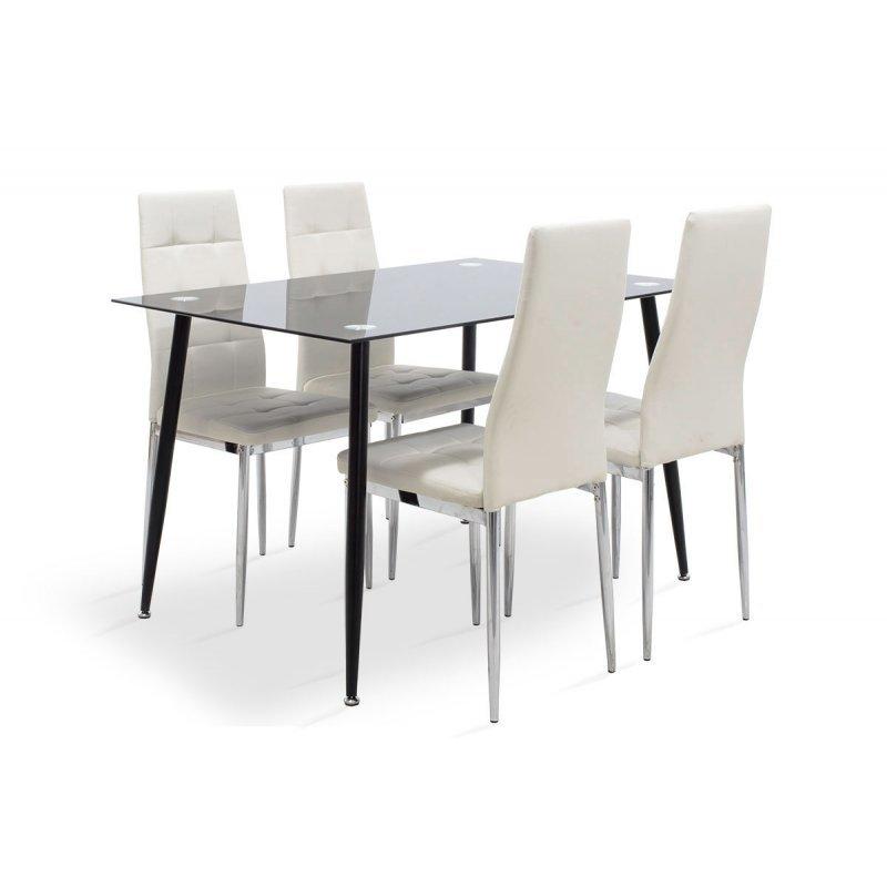 Τραπεζαρία Vincenzo pakoworld σετ 5τμχ μαύρο γυαλί-κάθισμα λευκό pu 120x80x75εκ.