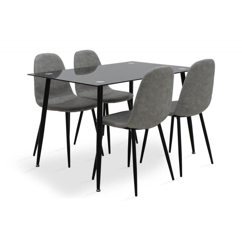 Τραπεζαρία Vincenzo pakoworld σετ 5τμχ μαύρο γυαλί-κάθισμα antique γκρι pu 120x80x75εκ.