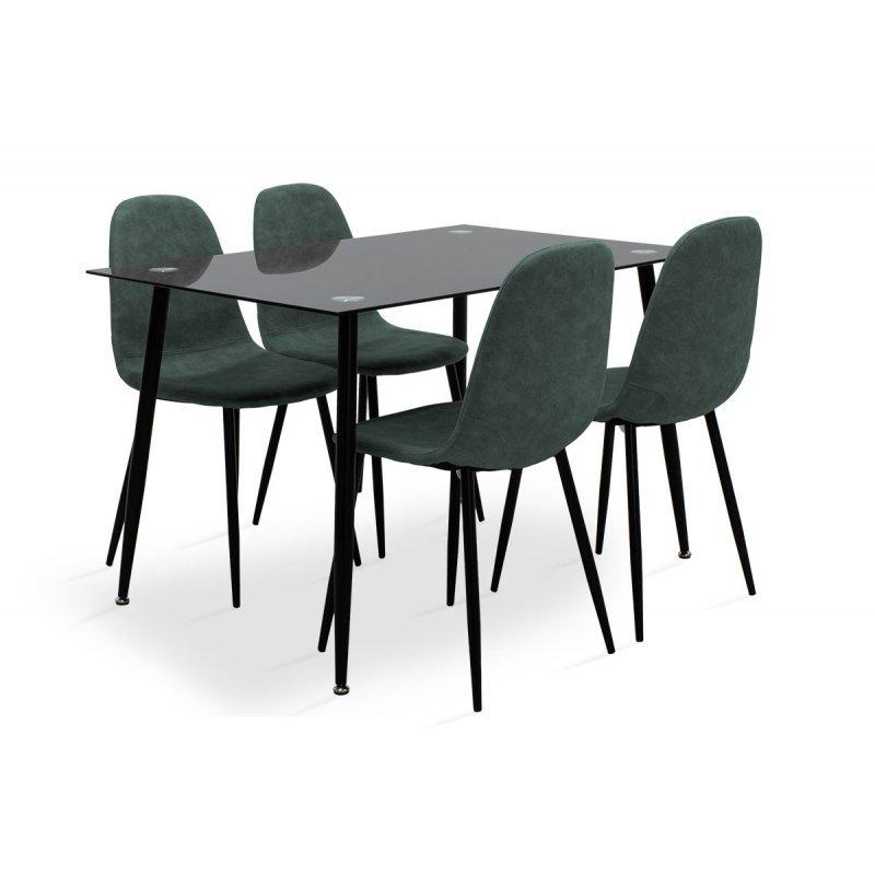 Τραπεζαρία Vincenzo pakoworld σετ 5τμχ μαύρο γυαλί-κάθισμα antique πετρόλ pu 120x80x75εκ.