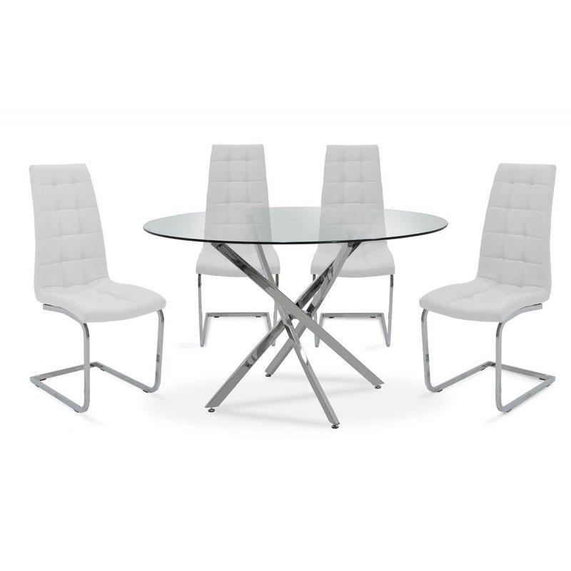 Τραπεζαρία Steve pakoworld σετ 5τμχ διάφανο γυαλί-κάθισμα λευκό pu Φ120x74,5εκ