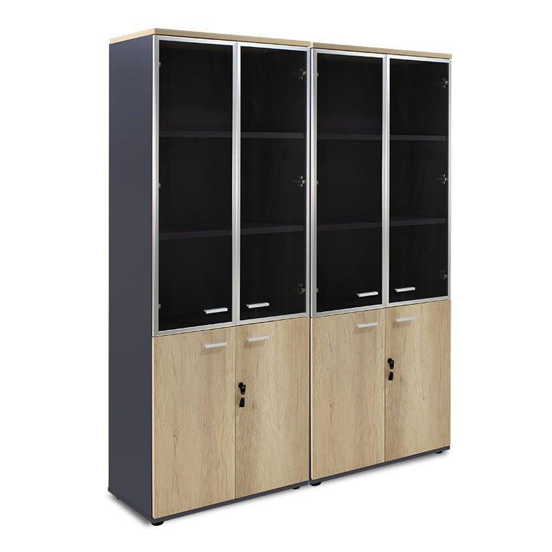 Nτουλάπα γραφείου τετράφυλλη με 2 γυάλινες πόρτες Lotus pakoworld χρώμα φυσικό-ανθρακί 160x40,5x200εκ