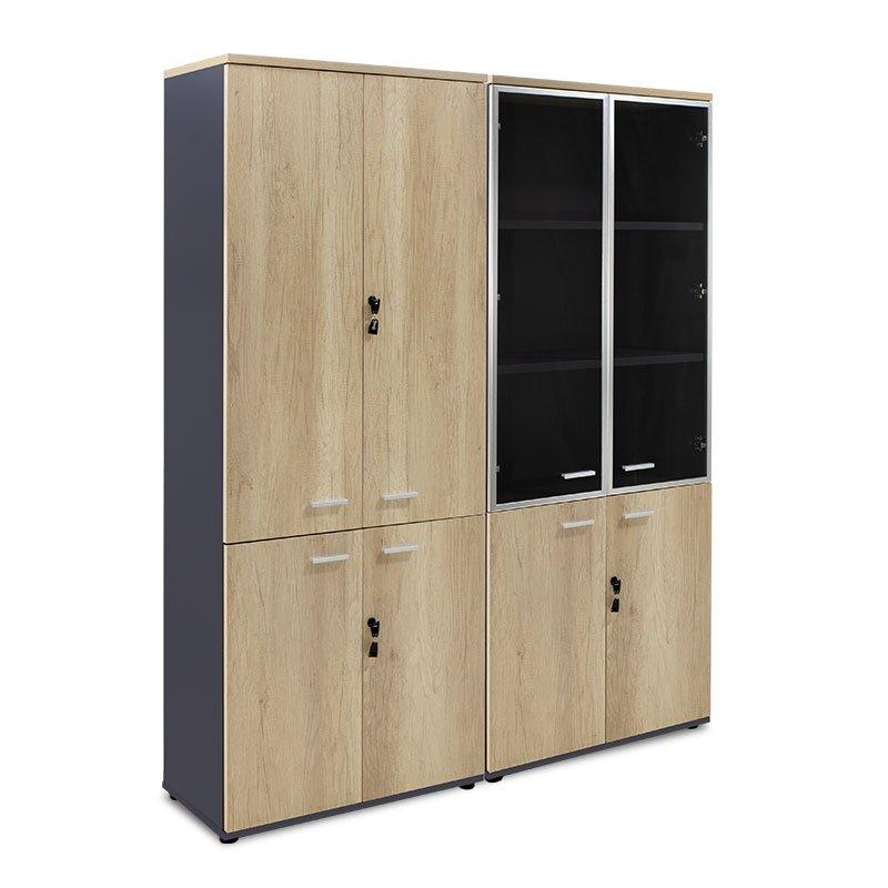 Nτουλάπα γραφείου τετράφυλλη με 4 πόρτες Lotus pakoworld χρώμα φυσικό-ανθρακί 160x40,5x200εκ
