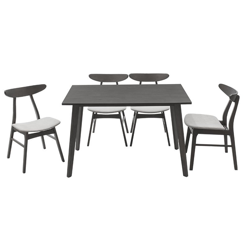 Tραπεζαρία Benson - Orlean pakoworld σετ 5τμχ rustic grey - ύφασμα γκρι 120x80x75εκ