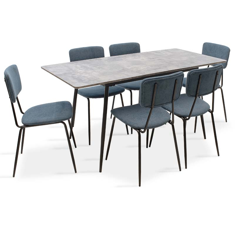 Τραπεζαρία Shazam-Τania pakoworld σετ 7τμχ MDF επεκτεινόμενη γκρι cement-μπλε 120-160x80x76εκ