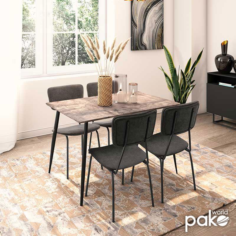 Τραπεζαρία Cube-Τania pakoworld σετ 5τμχ MDF grey cement-ανθρακί 120x80x76εκ
