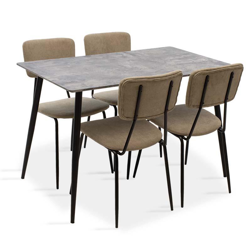 Τραπεζαρία Cube-Τania pakoworld σετ 5τμχ MDF grey cement-μπεζ 120x80x76εκ
