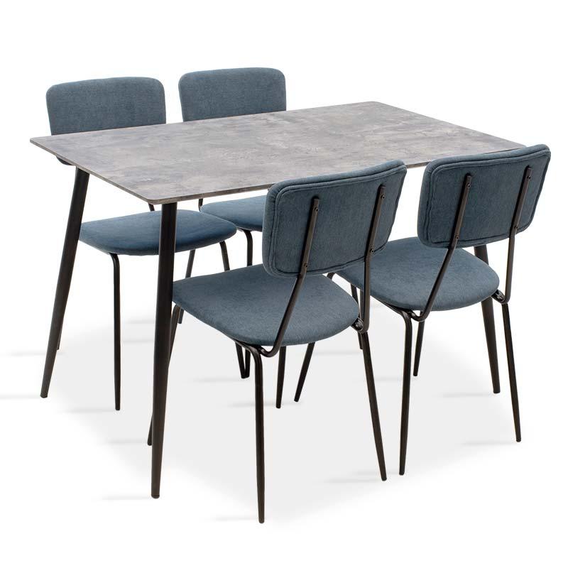 Τραπεζαρία Cube-Τania pakoworld σετ 5τμχ MDF grey cement-μπλε 120x80x76εκ