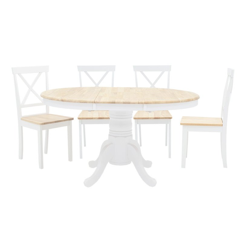 Tραπεζαρία Lars pakoworld σετ 5τμχ επεκτεινόμενη ξύλο-MDF λευκό-φυσικό Φ100(+38)x100x75εκ