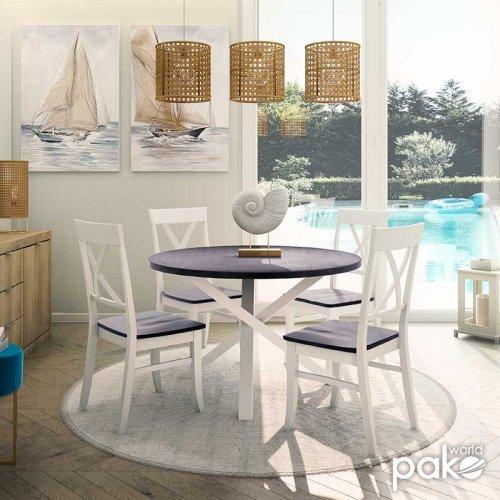 Tραπεζαρία Hug pakoworld σετ 5τμχ ξύλο-MDF λευκό-καρυδί 120x120x75,5εκ